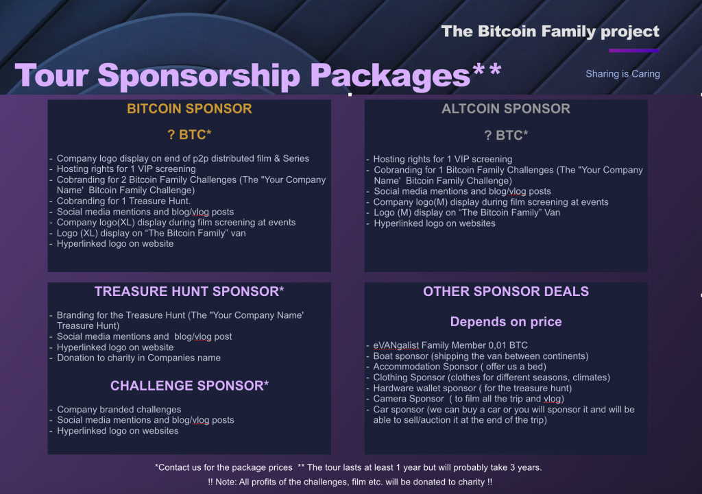 The Bitcoin Family tour sponsor package